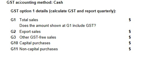 BAS Online Form GST Section