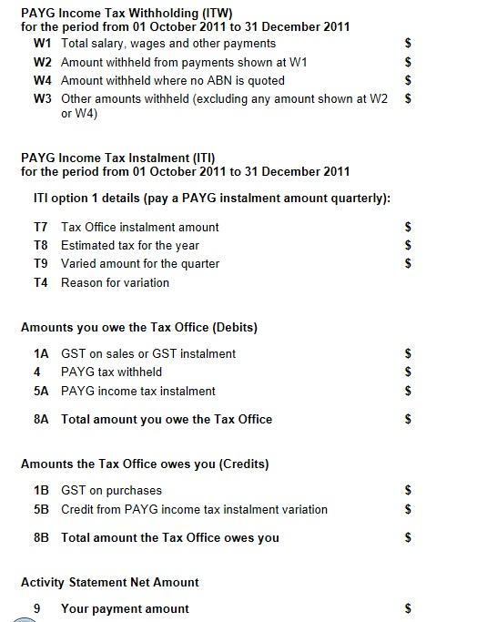 BAS Online Form PAYG Section
